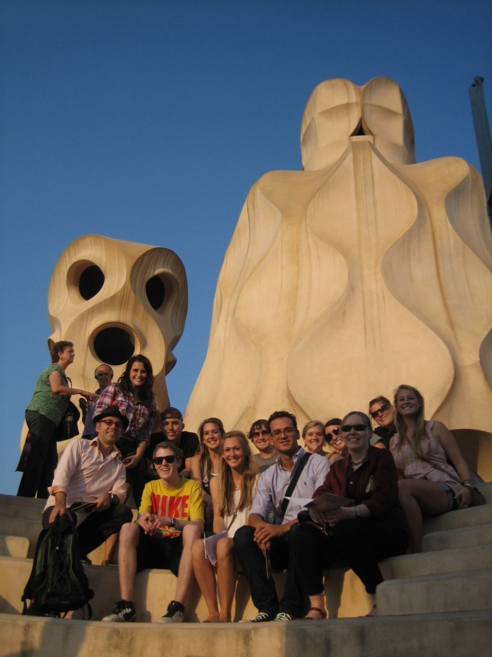 On roof of Gaudi's Casa Mila' with students